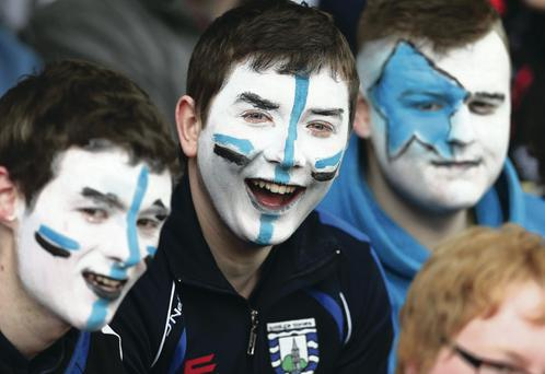 St Pat's Maghera fans wear their colours at the MacRory Cup final at Armagh's Athletic Grounds. William Cherry
