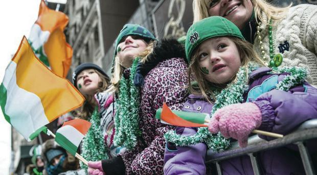 Revellers and parade participants on New York's Fifth Avenue