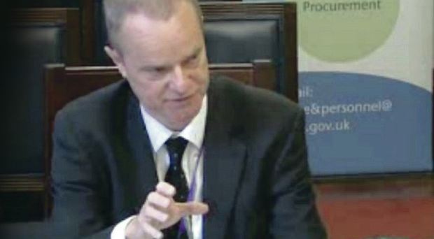 Belfast Telegraph editor Mike Gilson briefs the Stormont finance committee