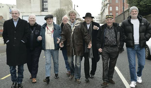 Members of the local R'n'B band scene from the 1960s at the spot of the old Maritime Hotel in Belfast