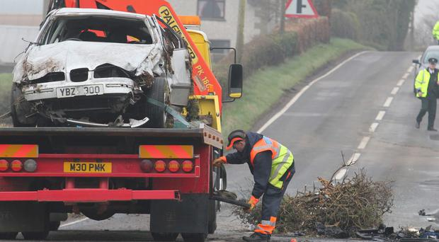 The white Seat car in which Leanne Dripps died after a two-car collision on the Agivey Road near Kilrea
