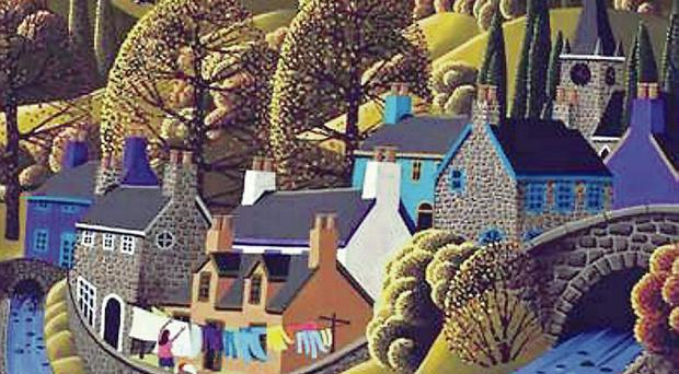 A piece by Belfast artist George Callaghan which is up for sale
