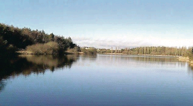 The scenic Portavoe Reservoir before it was drained