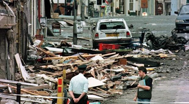The scene of the Omagh bombing in August 1998