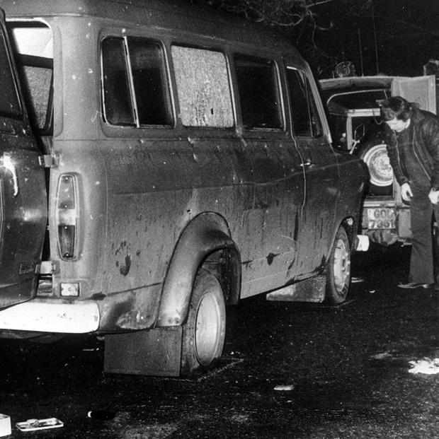 The bullet-riddled minibus where 10 Protestant workmen were shot dead by IRA terrorists