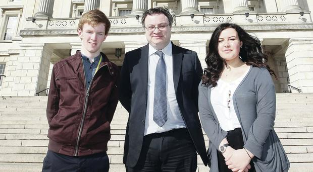 Christopher Seeley and Maya McCloskey with Stephen Farry at Stormont