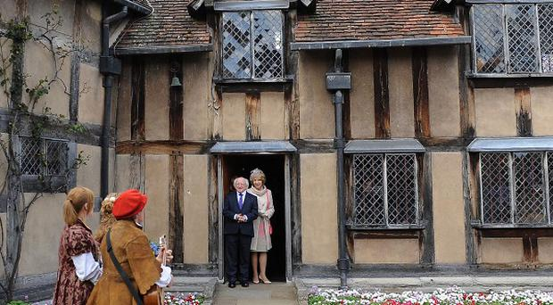 Irish President Michael D Higgins and his wife Sabina Higgins during a visit to Shakespeare's Birthplace in Stratford-upon-Avon
