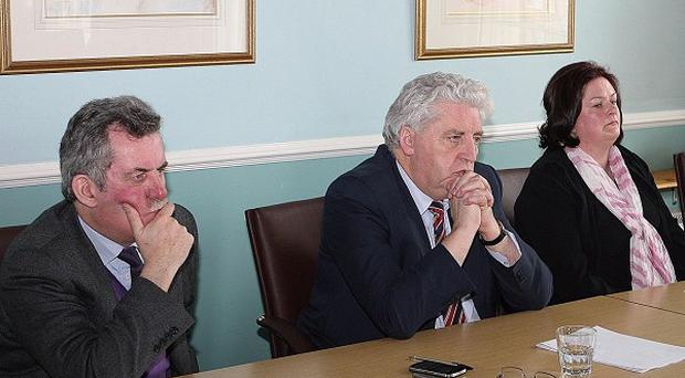 A conference at SDLP headquarters in Belfast regarding a civil action against the British Government and its agencies, the police, the military and the Northern Ireland Office in relation to 32 families (SDLP/PA)