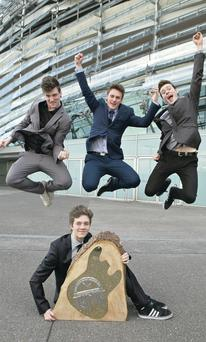 Belfast Band The Left Backs – Ben Watt-Doak (front), and (from left) Matt Hedley, Max Lozowsky and Lucas MacPherson – with their award