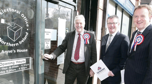 Jim Nicholson (left) with party leader Mike Nesbitt and Colin McCusker at the Electoral Office in Belfast