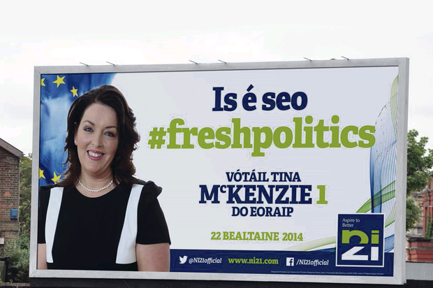 One of N21's new Euro election campaign billboards in Irish