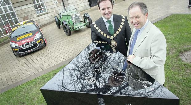 Appeal: Newtownards mayor Stephen McIlveen (left)