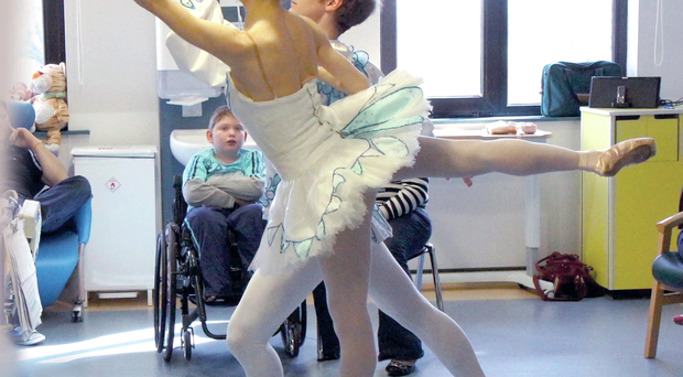 Two of the dancers perform The Sleeping Beauty to the young patients at the Royal Hospital