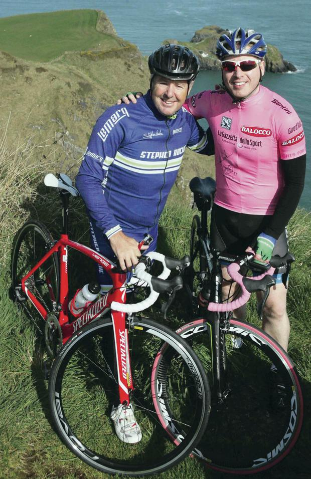 Stephen Roche and (right) Richard Lloyd on the course