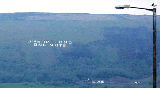 The 'One Ireland One Vote' sign on Black Mountain
