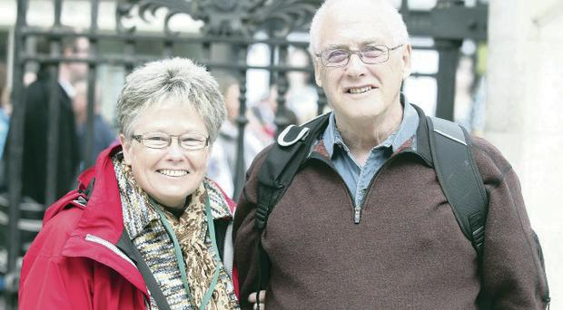Jan and Pat Clarke are visiting Belfast from Perry Sound, Ontario, Canada