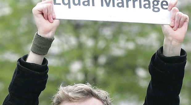 A protester outside Belfast City Hall