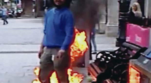 Faycal Daoud lit a fire outside City Hall and doused himself in white spirit on April 30, 2014.