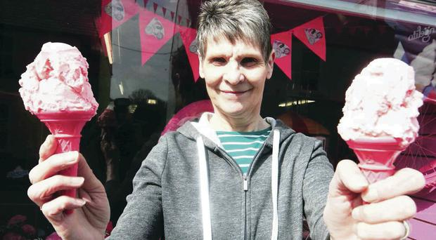 Pink cones and ice cream on sale from Ann McLaughlin of Sam's Paper Shop in Bushmills