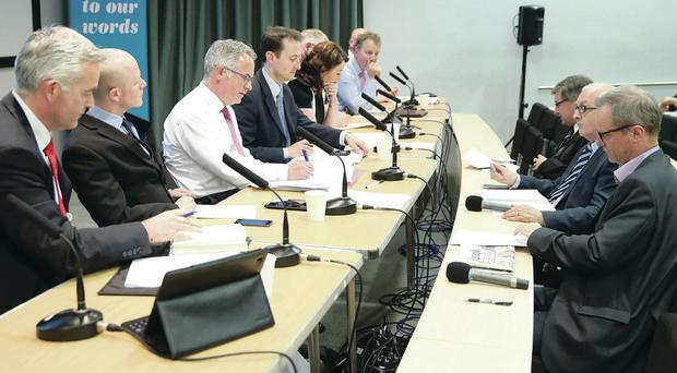 Belfast Telegraph editor Mike Gilson (right) asks questions of the candidates for the European Parliament at the University of Ulster's Belfast campus. They include (from left) Jonathan Bell (DUP), Ross Brown (Green Party), Alex Attwood (SDLP), Neil Johnston (chairman of organisers NIGAG) and Tina McKenzie (NI21)