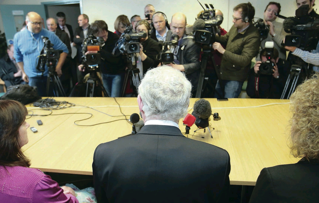 Martin McGuinness speaks to the media at Sinn Fein offices in west Belfast yesterday