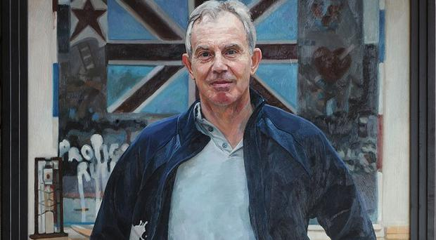 Portrait of former prime minister Tony Blair which will hang in Royal Society Of Portrait Painters Annual Open Exhibition, at the Mall Galleries, London