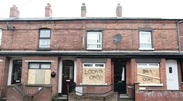 The properties in Roslyn Street, east Belfast, daubed with racist graffiti demanding the residents leave