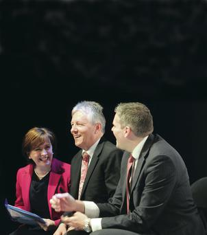 DUP leader Peter Robinson with European candidate Diane Dodds and Gavin Robinson
