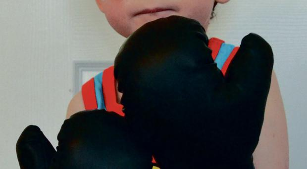 Wee Oscar dons boxing gloves