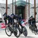 Movistar riders leaving Titanic Belfast during a training session, Friday May 9, 2014