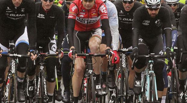 The peloton makes its way up Clifton Street for the start of stage two of the 2014 Giro d'Italia in Belfast