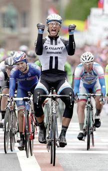 Marcel Kittel of team Giant Shimano wins the second stage of the Giro d'Italia in Belfast