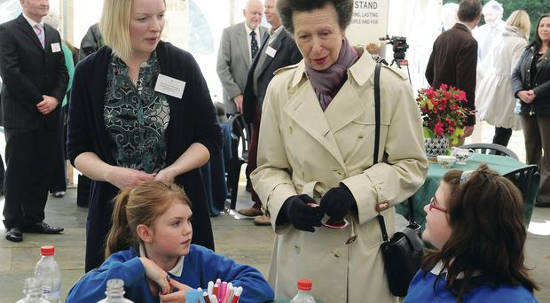 The Princess Royal meets pupils from Cumber Claudy Primary School during the launch of the Great War memorial wood