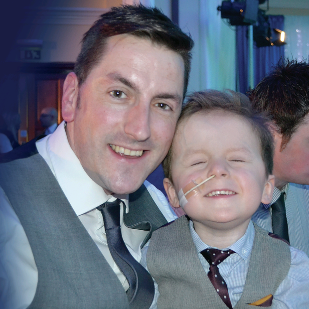 Proud dad: Stephen Knox with his inspirational son Oscar