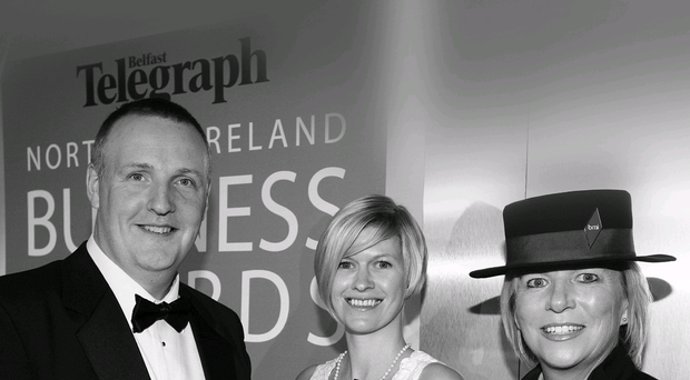 Jeremy Eakin collects the award for best small/medium business in the 2010 Belfast Telegraph Business Awards from Kimberley Watts-Fitzsimmons of Yell and Tracey Maxwell of bmi. TG Eakin Ltd has since grown into a hugely successful company