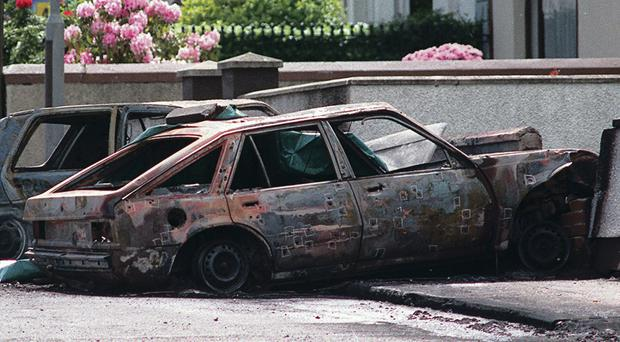 The car in which three IRA men, including Michael Ryan, were shot dead by the SAS in Coagh, Co Tyrone, in 1991
