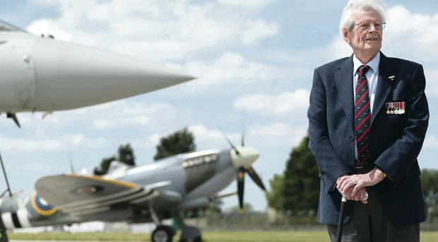 Belfast-born war veteran Paddy Byrne at RAF Coningsby in Lincolnshire yesterday