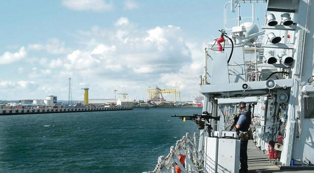 HMS Richmond docked at Belfast harbour yesterday