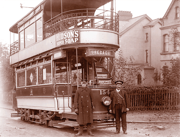 An electric tram in Cregagh village in 1910. Aidan Campbell writes books about such areas as Cregagh, Knock and Gilnahirk