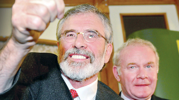 Sinn Fein leader Gerry Adams after he was released without charge this month following questioning over the 1972 murder of Jean McConville