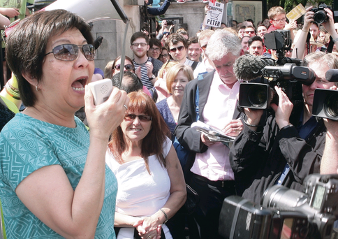 Alliance Party's Anna Lo speaks at the anti-racism rally at Belfast City Hall