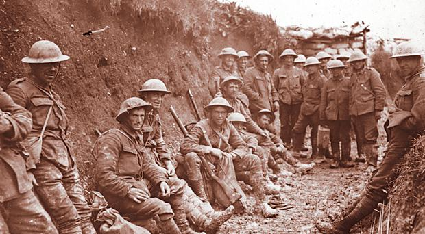 Soldiers in the trenches during the Somme battle in 1916