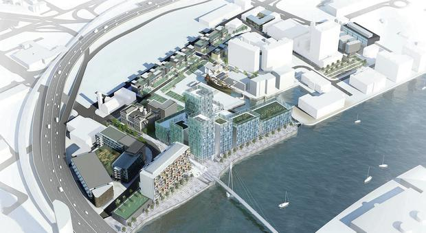 An artist's impression of how the City Quays site would look