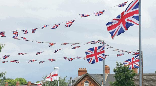 Union flags flying in the Tigers Bay area of Belfast