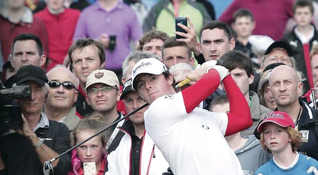 Rory McIlroy tees off on the first day of the Irish Open in Portrush in 2012