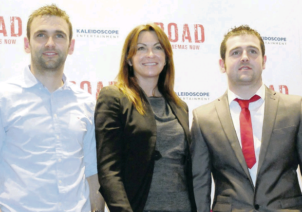 William (left) and Michael Dunlop with Suzi Perry at the premiere of the documentary film about the Dunlop family in Leicester Square, London