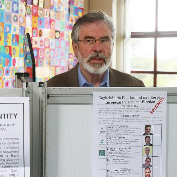 Gerry Adams and his party Sinn Fein were buoyed by opinion poll findings.