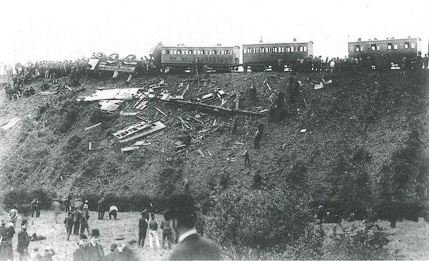 The debris-strewn slopes where the unsecured carriages crashed