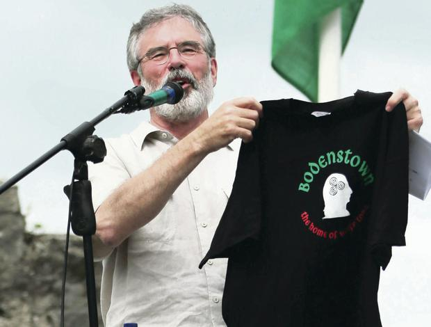Sinn Fein president Gerry Adams gives a speech during the annual Wolfe Tone commemoration at Bodenstown, Co Kildare yesterday