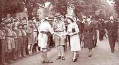 Princess Elizabeth on a royal visit in 1945, is welcomed by scouts at Wallace Park